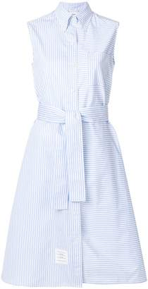 Thom Browne Sleeveless A-line Belted Shirtdress With Funmix Stripe Placement In University Stripe Poplin
