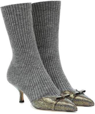Marco De Vincenzo Embellished knit ankle boots