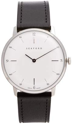 SEKFORD WATCHES Type 1A stainless-steel and smooth-leather watch