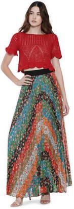 Alice + Olivia (アリス オリビア) - Alice+olivia Katz Wide Band Sunburst Pleat Maxi Skirt