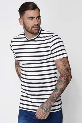 boohoo Muscle Fit Stripe T-Shirt
