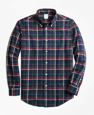 Brooks Brothers Milano Fit Yarn-Dyed Oxford Navy Plaid Sport Shirt