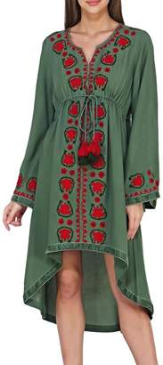 America & Beyond Embroidered Hi-Low Dress