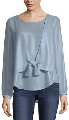 BELLE + SKY Long Sleeve Round Neck Woven Blouse