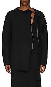 Yohji Yamamoto Men's Lace-Up Mixed-Knit Wool Oversized Sweater - Black