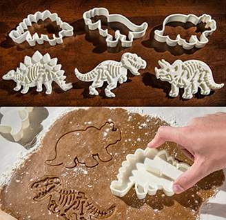 Fossil Dinosaur Cookie Cutters Stampers Emboss Bone Pattern Dinosaur Cake Topper Decoration Mold By Garloy(Pack of 3 Pairs)