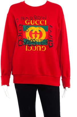 Gucci Red Cotton Coco Capitan Graffiti Top (Size Xxs)