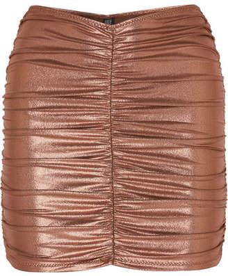 Lisa Marie Fernandez Ruched Metallic Swim Skirt - Bronze