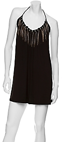 LaROK Metal Fringe Jersey Halter Dress