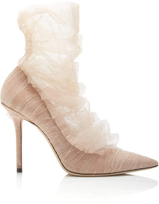Jimmy Choo Lavish Tulle-Paneled Suede Pumps