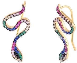 Gab+Cos Designs 14K Gold Vermeil CZ Accented Snake Ear Climber Earrings