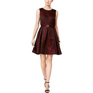 Nine West Women's Floral Jacquard Dress with Pleated Flare Skirt