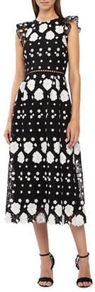ML Monique Lhuillier Cap-Sleeve Multicolored Lace Midi Dress w/ Floral Embellishments