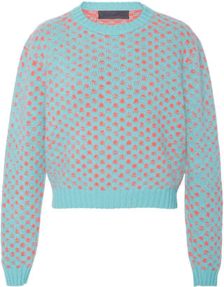 The Elder Statesman Cropped Patterned Cashmere Sweater
