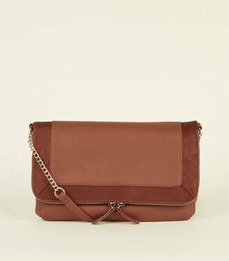New Look Tan Suedette Trim Foldover Cross Body Bag