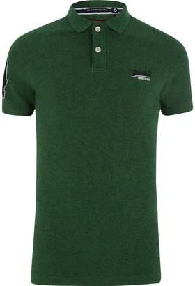 Superdry Mens Green logo pique polo shirt