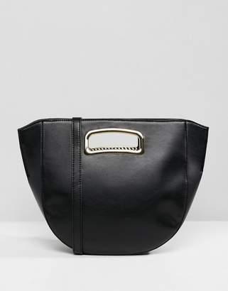Asos Design DESIGN winged saddle shopper bag with hardware handle