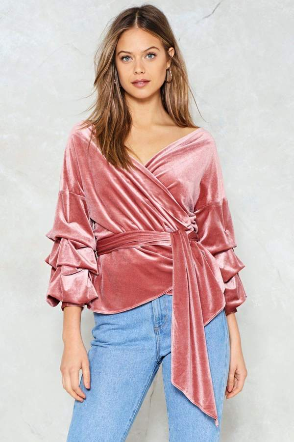 nastygal Soft Touch Velvet Wrap Top