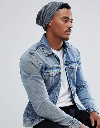Asos DESIGN Slouchy Beanie In Gray