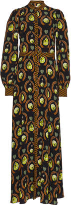 Temperley London Rosella Printed Crepe Maxi Shirt Dress