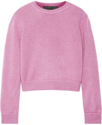 The Elder Statesman Cropped Whipstitched Cashmere Sweater - Pink