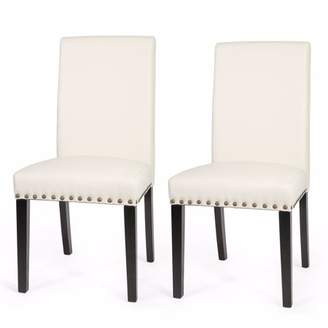 XtremepowerUS Sef of 2 Barton Luxury Stylish Nail Head Leather Dining Chair Extra Large, Cream