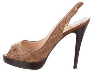 Christian Louboutin Raffia Slingback Sandals