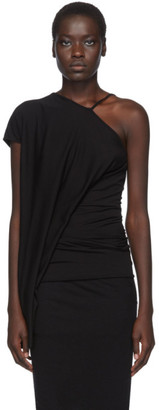 Rick Owens Lilies Black Single Strap Draped Tank Top