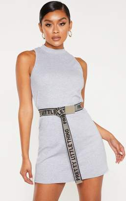 PrettyLittleThing Grey Marl Sleeveless Oversized T Shirt Dress