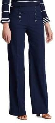 Chaps Twill Wide-Leg Pants