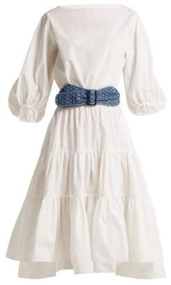 Binetti Love Boat Neck Cotton Dress - Womens - White