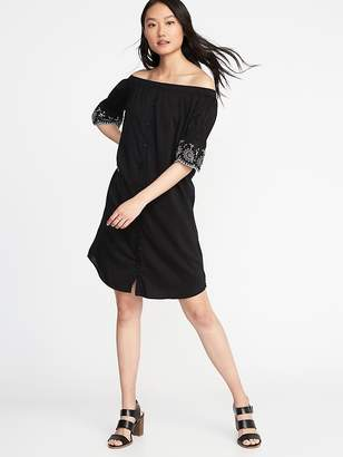Old Navy Off-the-Shoulder Embroidered Shirt Dress for Women