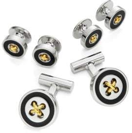 Black & Brown Black Brown Polished Cufflink Set of Three