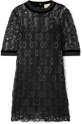 Gucci Velvet And Grosgrain-trimmed Macramé Mini Dress - Black