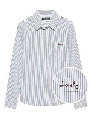 Banana Republic Petite Quinn Straight-Fit Stripe Shirt