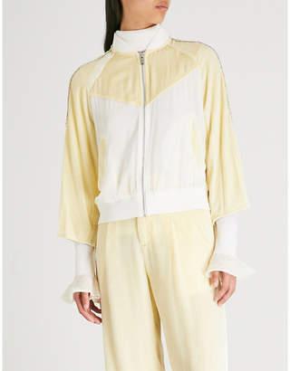 Mo&Co. Colour-block velvet jacket