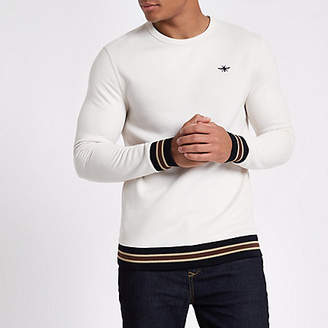 River Island Cream wasp embroidered tipped sweatshirt