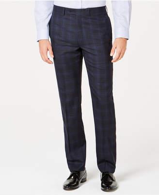 Calvin Klein Men's Slim-Fit Stretch Navy Plaid Suit Pants