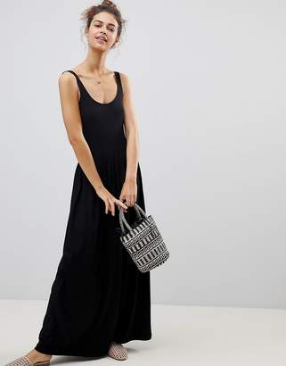 Asos Mixed Fabric Strappy Maxi Dress