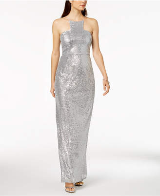 Adrianna Papell Petite Sequin Cutaway Gown