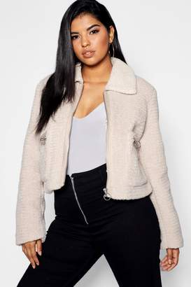 boohoo Plus Teddy Faux Fur Short Jacket