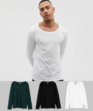Asos DESIGN TALL Long Sleeve T-Shirt With Scoop Neck 3 Pack SAVE
