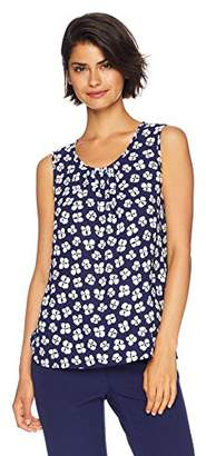 Anne Klein Women's Shirred Neck Printed Shell