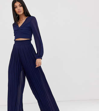 TFNC Tall Tall pleated wide leg trousers co-ord with tie waist in navy