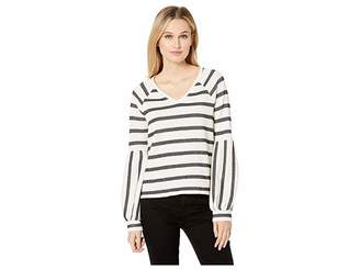 Vince Camuto Wide Stripe Knit Bubble Sleeve V-Neck Top