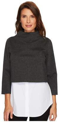 Vince Camuto Long Sleeve Center Front Seam Ponte Shell w/ Cotton Poplin Women's Clothing