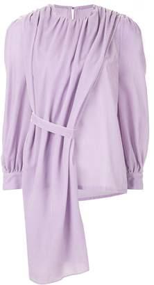 pushBUTTON draped detail blouse