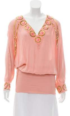 Matthew Williamson Embellished Silk Top