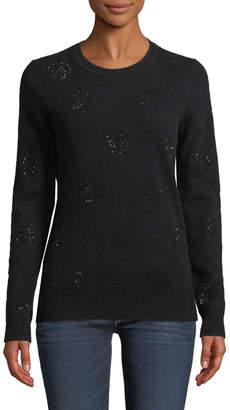 Neiman Marcus Cashmere Rhinestone-Dot Sweater
