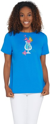 Bob Mackie Bob Mackie's Embroidered Sequin Tropical Cocktail Knit T-Shirt